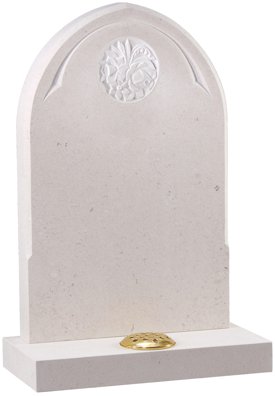 White Gothic headstone. Grave. Burial. Funeral. BWF Humphries Stonemasons, Wood Burning Stoves, Granite Worktops, Quartz Worktops. Hungerford, Newbury, Marlborough.